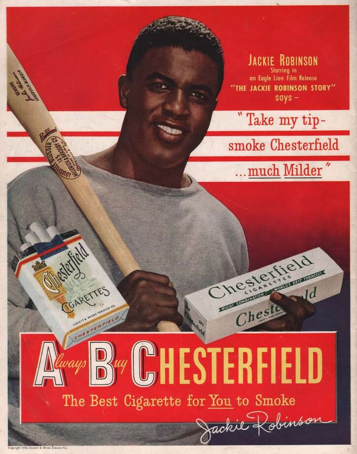 Jackie Robinson endorses Chesterfield in this cigarette ad produced in New York City, circa 1948. Photo: Transcendental Graphics, Getty Images / Archive Photos