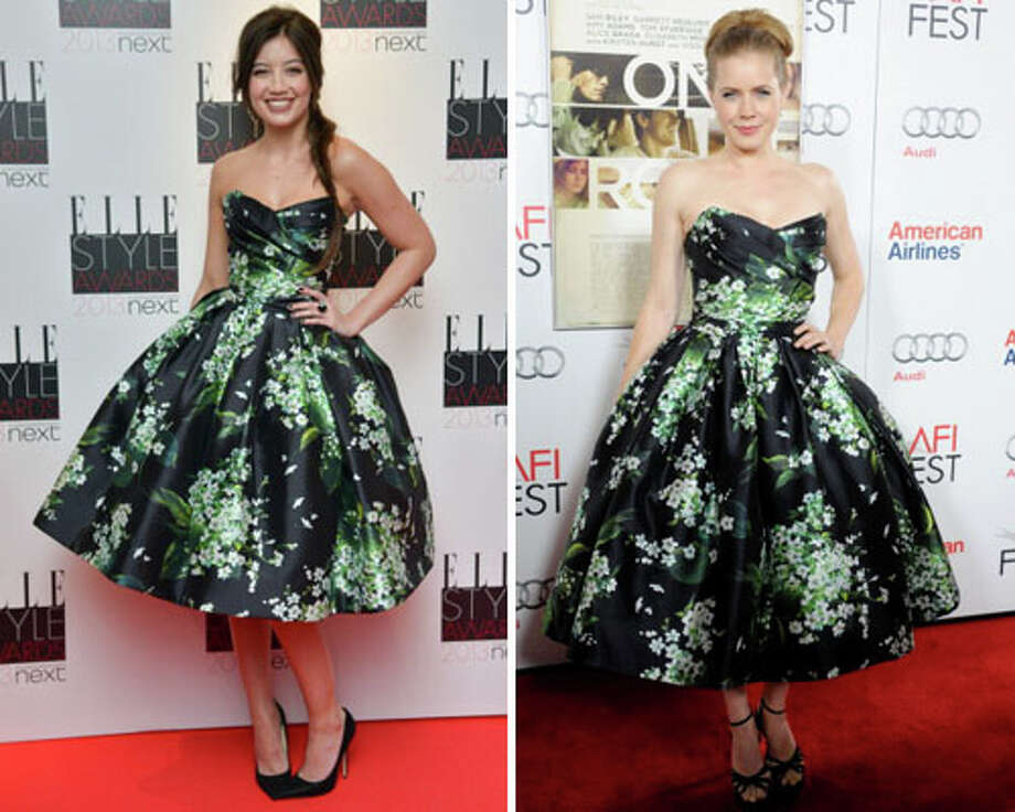 Model Daisy Lowe and actress Amy Adams  Super cute dress, but with a dad like Gavin Rossdale, we\'d expect something more original from Lowe.