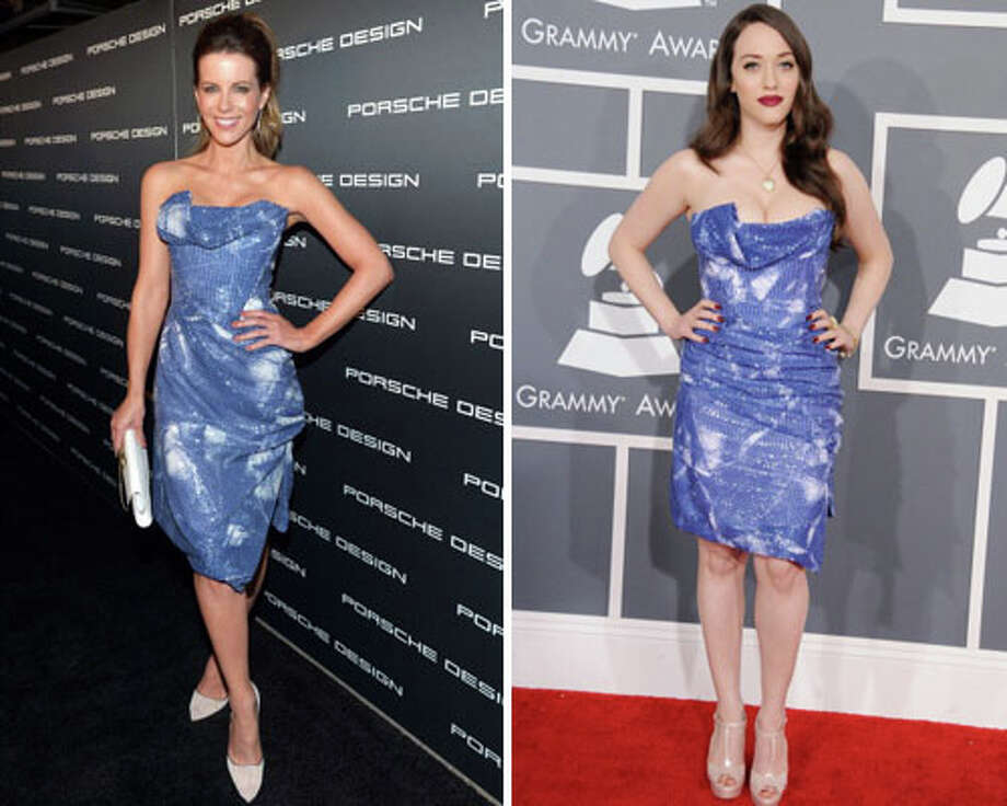 Kate Beckinsale and actress Kat Dennings  Dennings looks like she\'s about to fall out of this dress.