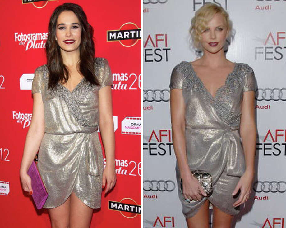 Spanish actress Celia Freijeiro and actress Charlize Theron  An unflattering and dumpy dress in any country.