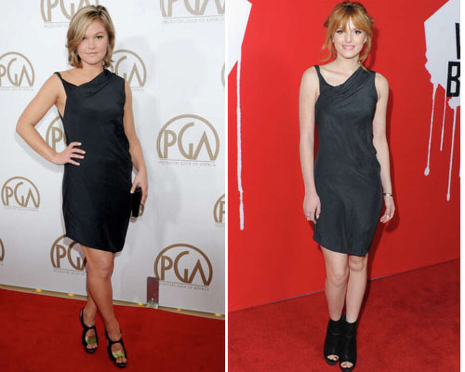 Julia Stiles and actress Bella Thorne  Stiles wins because Stiles\' dress fits.