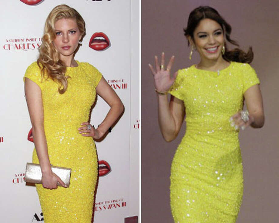 Actress Katheryn Winnick and Vanessa Hudgens  Hudgens\' smile sells the dress.