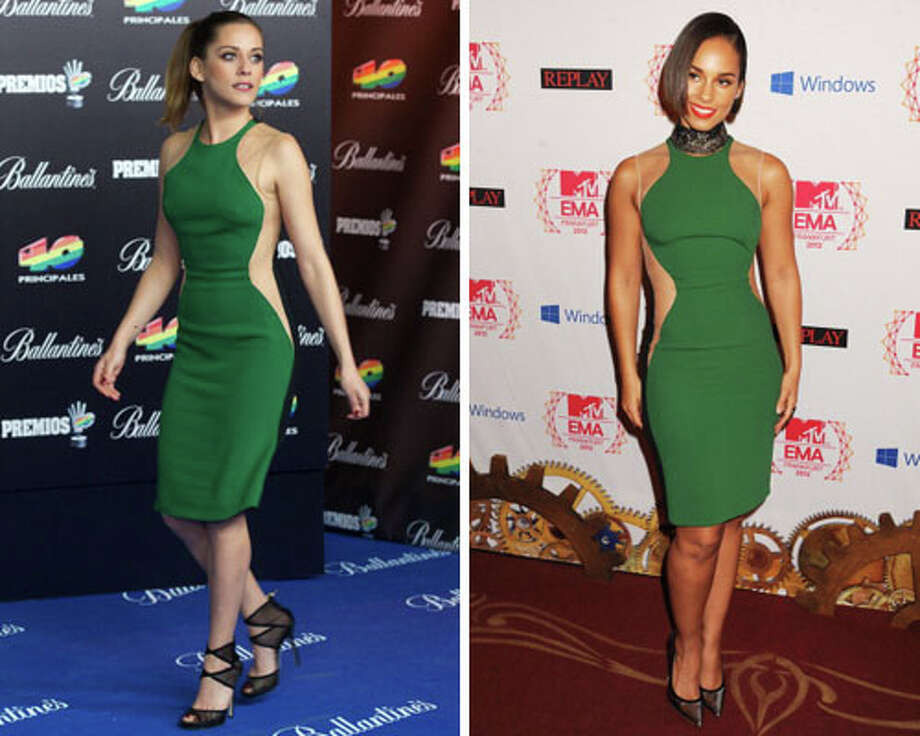 Spanish actress Maria Leon and singer Alicia Keys  This dress is perfect to showcase curves. Keys gets extra points for the collar necklace.