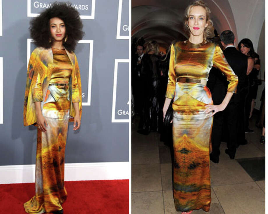 Esperanza Spalding and  Sarah Woodhead  Spalding may have been a surprise Grammy winner, but it\'s even more surprising that someone would copy this dress from her.