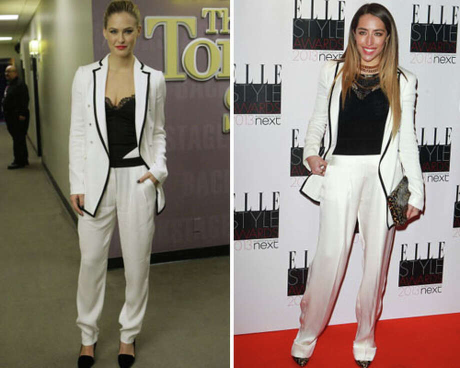 Supermodel Bar Refaeli and singer-songwriter Delilah  Refaeli\'s suit fits better. Refaeli wins.