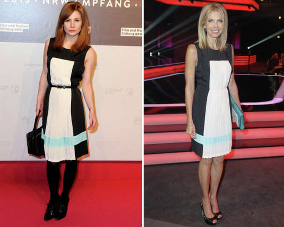 German actresses Josefine Preuss and Ursula Karven  Does Germany only have one dress store?