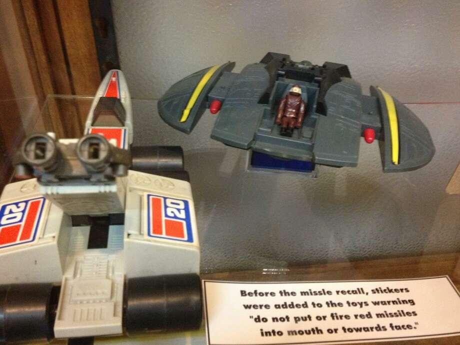 "The museum also houses a collection of ""banned\"" toys -- or toys that at some point were deemed unsafe, such as this Battlestar Gallactica ship with real shooting missiles. I had one of these as a kid an somehow survived."