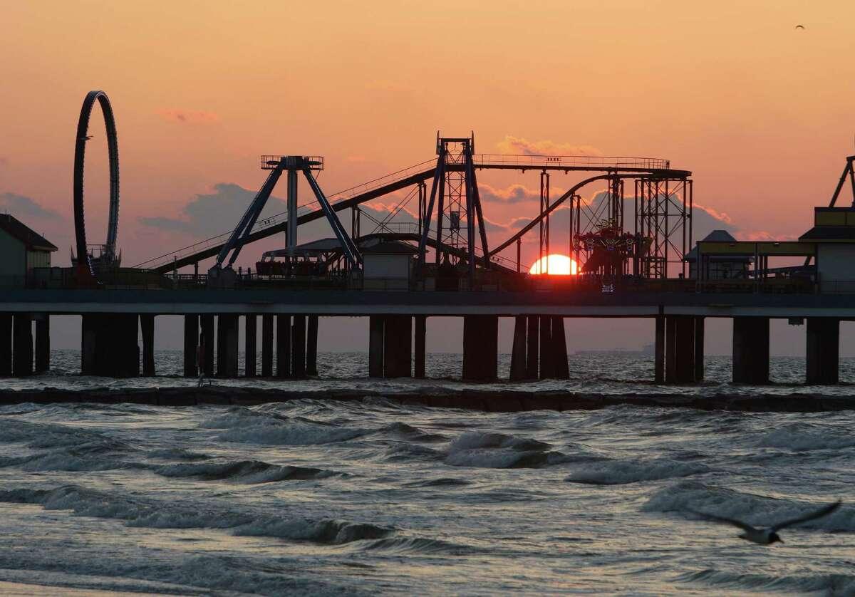 The Galveston Island Historic Pleasure Pier is home to the Iron Shark metal roller coaster.