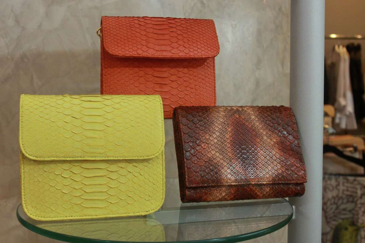 Exotic skin clutches on display at Linda Cunningham.