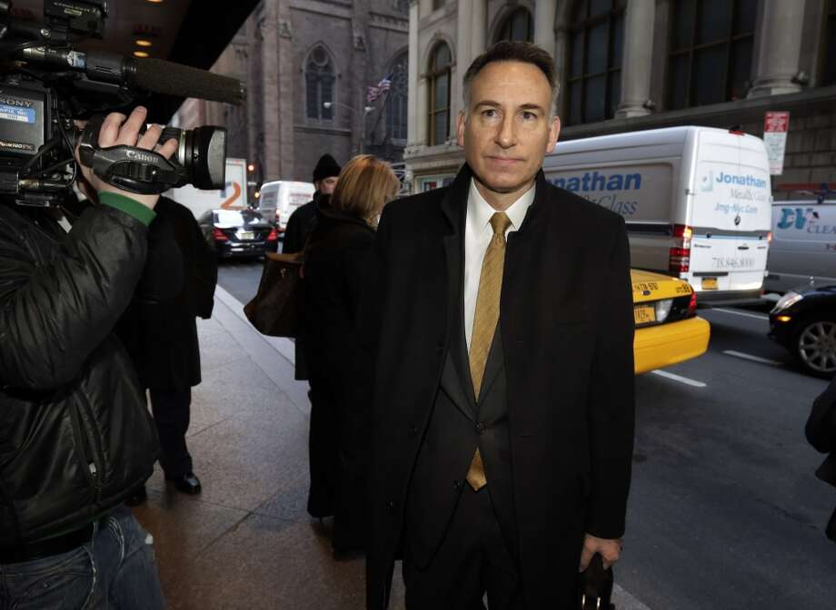 King County Executive Dow Constantine arrives for an NBA owners meetings regarding the possible relocation of the Sacramento Kings team to Seattle, in New York,  Wednesday, April 3, 2013. Hedge fund manager Chris Hansen and Microsoft Chief Executive Steve Ballmer have agreed to buy a majority stake in the Kings from the Maloof family for $341 million, but the deal needs league approval.