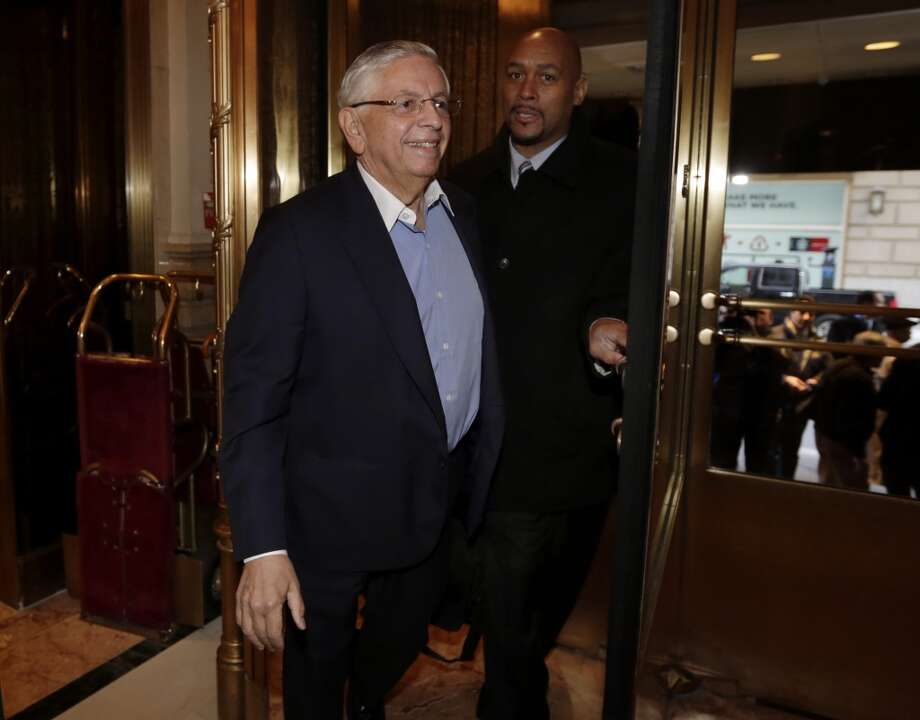 NBA Commissioner David Stern arrives for  an NBA owners meetings regarding the possible relocation of the Sacramento Kings team to Seattle, in New York,  Wednesday, April 3, 2013. Hedge fund manager Chris Hansen and Microsoft Chief Executive Steve Ballmer have agreed to buy a majority stake in the Kings from the Maloof family for $341 million, but the deal needs league approval.