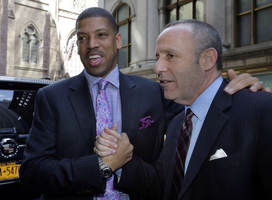 Sacramento Mayor Kevin Johnson, left, and California state Sen. Darrell Steinberg arrive for the  NBA owners meetings regarding the the possible relocation of the Sacramento Kings  team to Seattle, in New York, Wednesday, April 3, 2013. Hedge fund manager Chris Hansen and Microsoft Chief Executive Steve Ballmer have agreed to buy a majority stake in the Kings from the Maloof family for $341 million, but the deal needs league approval.