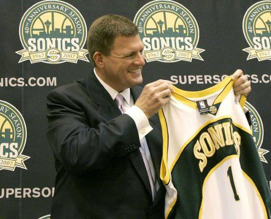 Timeline: Seattle arena and potential Sonics relocation2006:An investment group headed by Oklahoma City businessman Clay Bennett buys the Seattle SuperSonics from Starbucks maven Howard Schultz.  Photo: Ted S. Warren, Associated Press