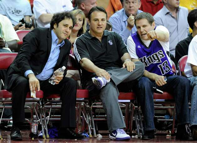 March 29, 2012: The city of Sacramento announces it has reached a deal with the Maloofs, the family that owns the NBA's Kings, to finance a new arena and keep the team in Sacramento. From left to right, brothers George, Gavin and Joe Maloof are seen above at a Kings game.  Photo: Ethan Miller, Getty Images / 2010 Getty Images