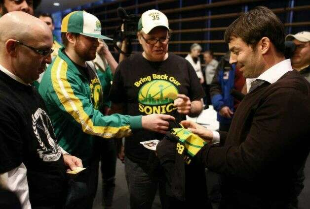 March 7, 2012: Chris Hansen makes his first public appearance, to answer questions for the Arena Review Panel. Along with plenty of media, dozens of Sonics fans attend the City Hall meeting to meet Hansen and voice their support.  Photo: Joshua Trujillo, Seattlepi.com