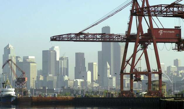 May 22, 2012: The Port of Seattle says it is concerned about extra congestion in Sodo, where trucks converge to access shipping piers and a train depot.  Photo: Ron Wurzer, Getty Images / 2002 Getty Images