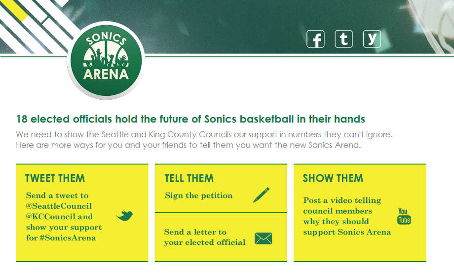 May 29, 2012: Chris Hansen's group launches a website and other online campaigns for the proposed arena, and announces a public rally set for June 14.  Photo: Screenshot, SonicsArena.com