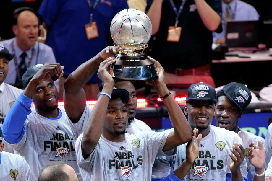 June 6, 2012:The Oklahoma City Thunder beat the San Antonio Spurs to advance to the NBA Finals. Sonics fans are distressed, and a snarky headline in the Tri-City Herald gets national attention.  Photo: Brett Deering, Getty Images / 2012 Getty Images