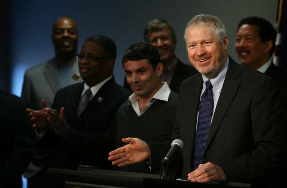 June 11, 2012: Mayor Mike McGinn travels to New York City to meet with with the NBA.  Photo: Joshua Trujillo, Seattlepi.com