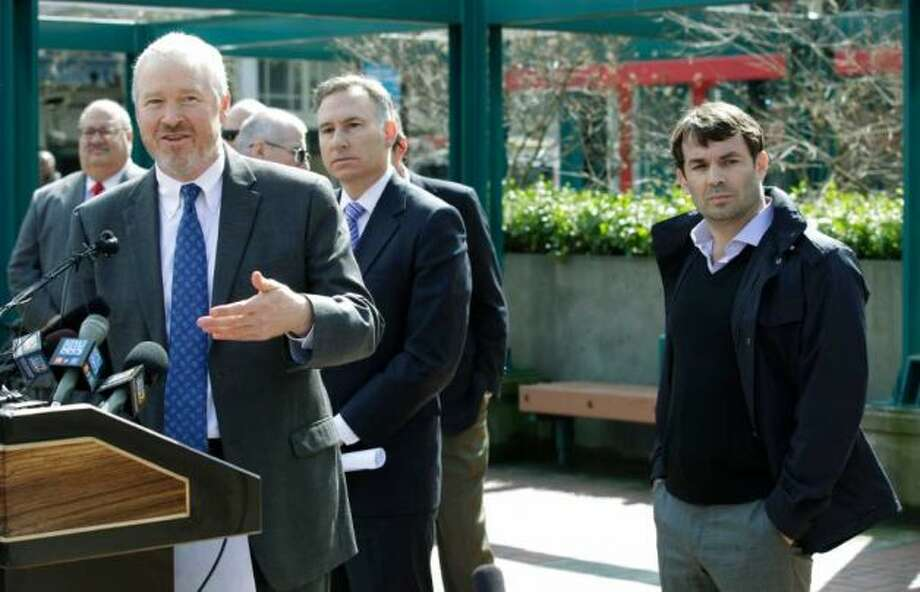 June 21, 2012:Seattle Mayor Mike McGinn tells 710 ESPN Seattle that he doesn't think a public vote is needed. Meanwhile, in an unscientific online poll, seattlepi.com readers overwhelmingly say no vote is needed: 81 percent to 18 percent (1 percent undecided).  Photo: Associated Press