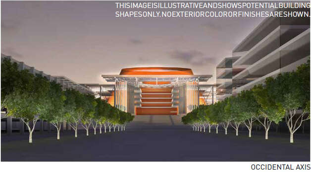 Dec. 12, 2012: 360 Architects adds a big orange ''icon'' to its preferred arena design option. Meanwhile, the Seattle Department of Planning and Development holds several meetings to show 360 Architecture's ideas and take public comment.  Photo: Via Seattle DPD, 360 Architecture