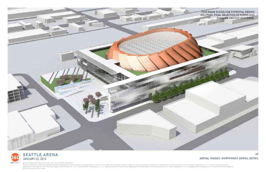 Jan. 11, 2013: More arena design renderings are released, including a refined orange ''icon'' that the designers say was inspired by Mount Rainier and the fan blades of a jet engine.  Photo: Via Seattle DPD, 360 Architecture