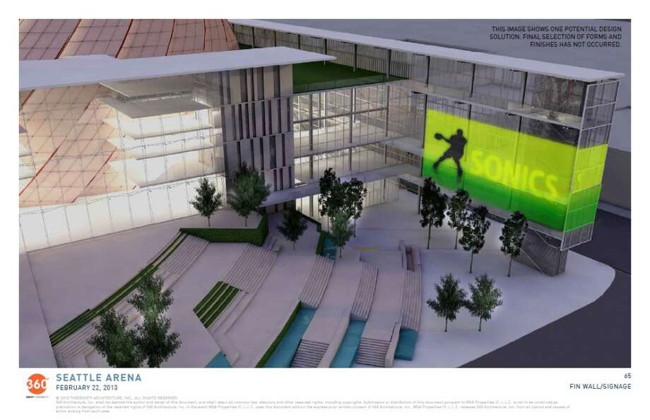 Feb. 22, 2013:More arena design renderings are released, showing a few big changes (and a bunch of cool views). There's a drastic new look for the pedestrian plaza and main steps that lead up to the arena's main concourse. And we now have a clearer concept for the big, orange ''icon'' -- now being called a ''turbine,'' since it is inspired by jet engines -- where the main arena bowl would be located.  Photo: Via Seattle PDP, 360 Architecture
