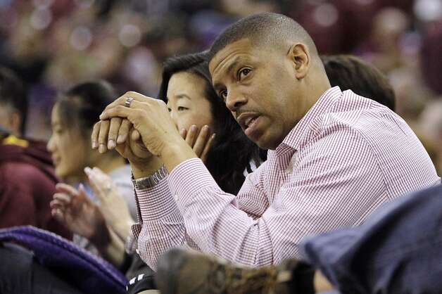 Feb. 28, 2013: In his ''State of the City'' address, Sacramento Mayor Kevin Johnson announces the ''big whales'' we'd already known about -- Mark Mastrov and Ron Burkle -- as the main investors in a new group that will bid against Chris Hansen for the Sacramento Kings. ''With all due respect to Seattle,'' Johnson says, ''it is not going to be this team, our team. No way.''  Photo: Rich Pedroncelli, Associated Press