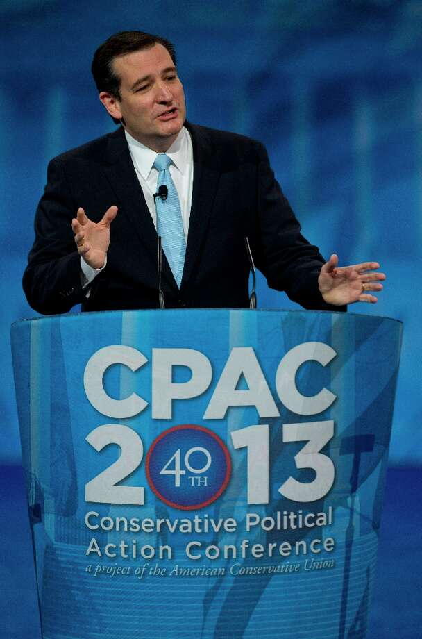 Sen. Ted Cruz, R-Texas, speaks at the 40th annual Conservative Political Action Conference in National Harbor, Md., Saturday, March 16, 2013. Diehard activists at the three-day conference are already picking favorites in what could be a crowded Republican presidential primary in 2016. (AP Photo/Carolyn Kaster) Photo: Carolyn Kaster, Associated Press / AP