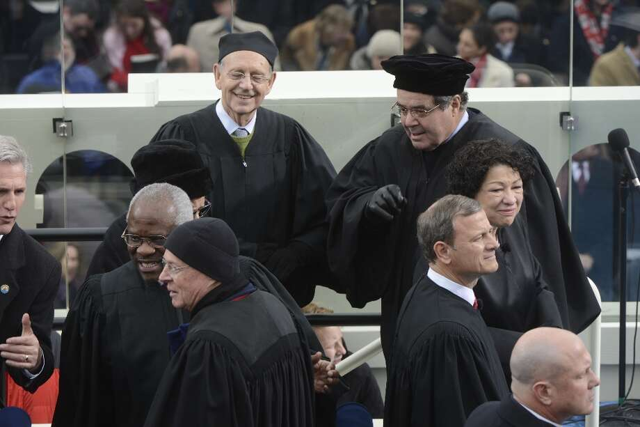At left are Associate Justices, Antonin Scalia, Stephen G. Breyer, Clarence Thomas, Anthony M. Kennedy  during the 57th Presidential Inauguration Ceremony at the United States Capitol on Monday, January 21, 2013. Photo: The Washington Post, The Washington Post/Getty Images / 2013 The Washington Post