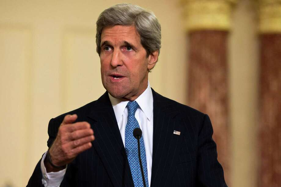 FILE - In this April 2, 2013 file photo, Secretary of State John Kerry speaks at the State Department in Washington. U.S. and Turkish officials say Secretary of State John Kerry is traveling to Turkey and Israel this weekend to build on the two nations' efforts to repair ties. (AP Photo/Jacquelyn Martin, File) Photo: Jacquelyn Martin