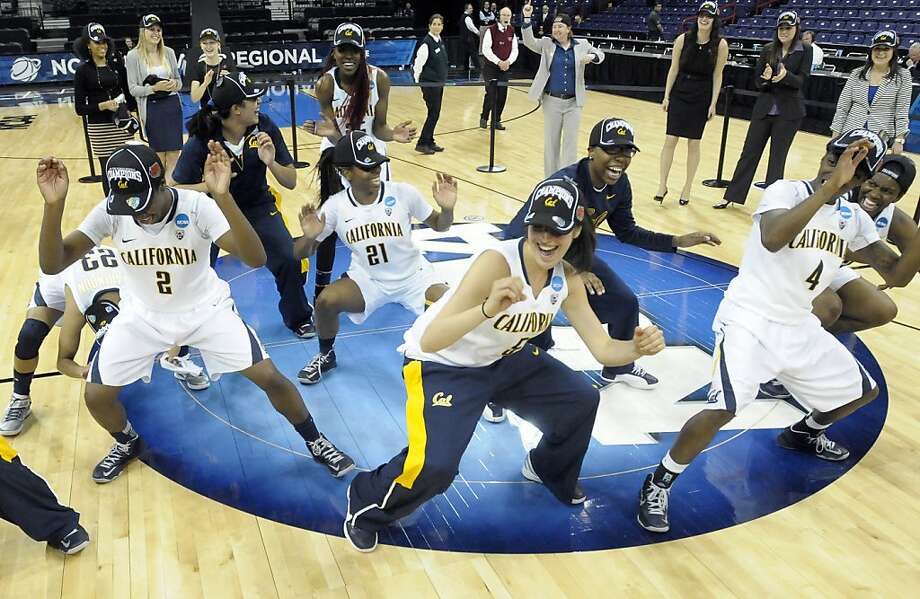 Cal players had some fun after beating Georgia for a regional title. Coach Lindsay Gottlieb wants the vibe to continue when the Bears hit the Final Four. Photo: Jed Conklin, Associated Press