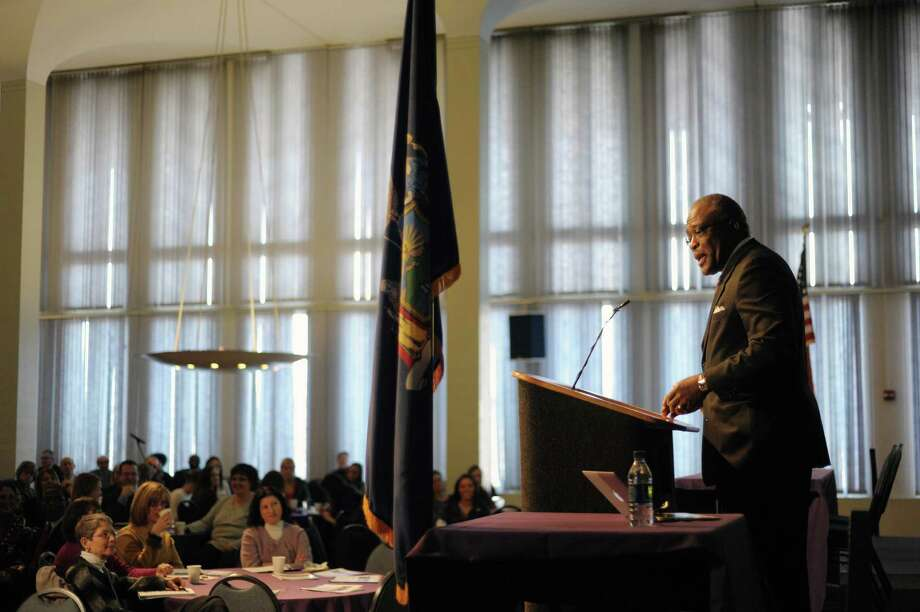 Robert Jones, president, University at Albany, addresses those gathered at the college for the Campus Forum to Advance its Progress as an Engaged University on Wednesday, April 3, 2013 in Albany, NY.   (Paul Buckowski / Times Union) Photo: Paul Buckowski