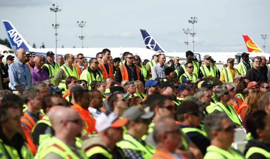 Workers gather during a ceremony opening Boeing's new Everett Delivery Center. Photo: JOSHUA TRUJILLO / SEATTLEPI.COM