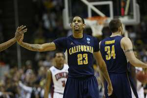 California Golden Bears guard Allen Crabbe (23) high fives a teammate during the second-round game of their NCAA college basketball tournament against UNLV Rebels at HP Pavilion in San Jose, Calif. on Thursday, March 21, 2013.
