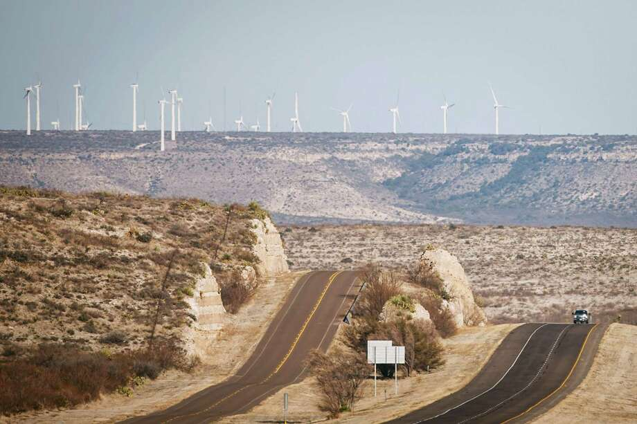 The BP Sherbino Mesa II facility, which has 60 turbines, is one of BP's Texas wind farms. It's in Pecos County near Fort Stockton. Photo: Michael Paulsen, Staff / © 2012 Houston Chronicle