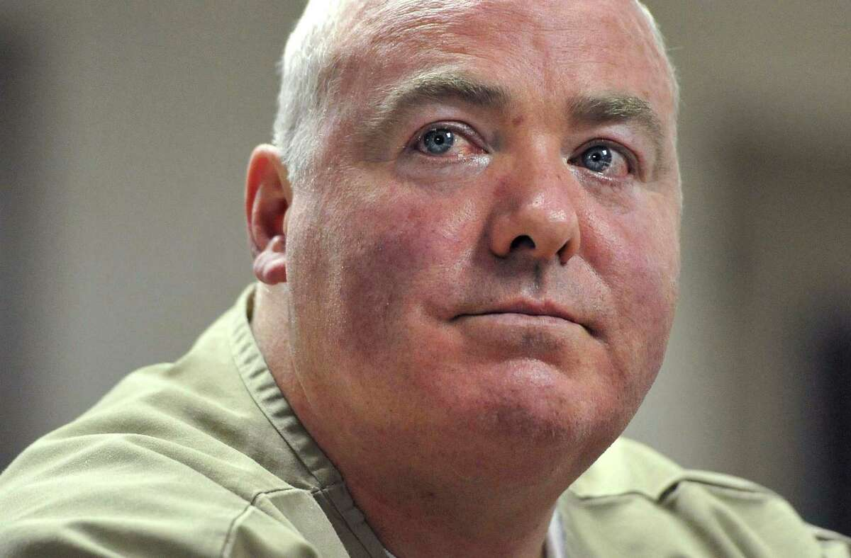 In this Oct. 24, 2012 file photo, Michael Skakel listens during a parole hearing at McDougall-Walker Correctional Institution in Suffield, Conn. (AP Photo/Jessica Hill, Pool, File)