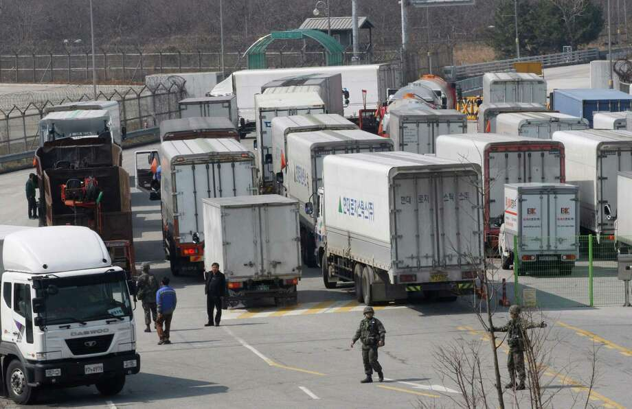 Access to the factories jointly run by North and South Korea was denied for a second day Thursday. Photo: Ahn Young-joon, STF / AP