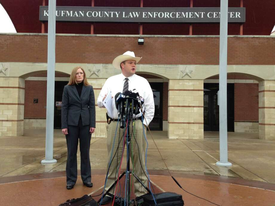 Katherine Chaumont, FBI PIO and Justin Lewis, PIO of Kaufman County Sheriff's office talks to the news media about to confirm the arrest of Nick Morale, 56,of Terrell, Texas on Wednesday, April 3, 2013 for a terroristic threat. (AP Photo/The Dallas Morning News, David Woo) Photo: David Woo, MBR / The Dallas Morning News