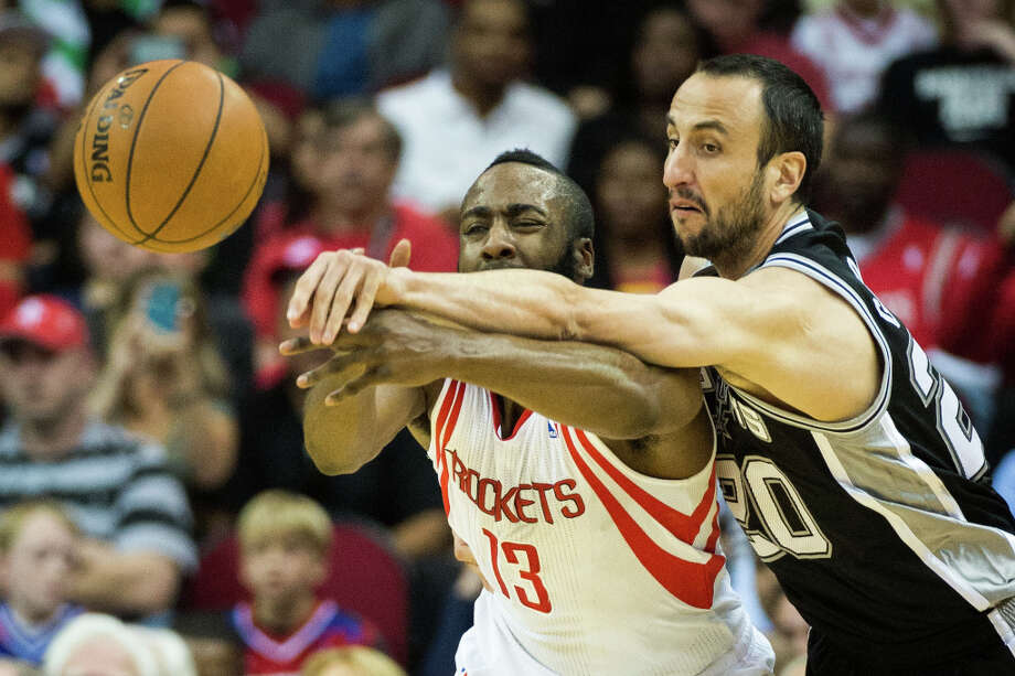 March 24: Rockets 96, Spurs 95 James Harden hit the game-winning jumper with just under five seconds left as the Rockets held off the Spurs in the heat of the playoff race. Record: 39-31. Photo: Smiley N. Pool, Houston Chronicle / © 2013  Houston Chronicle