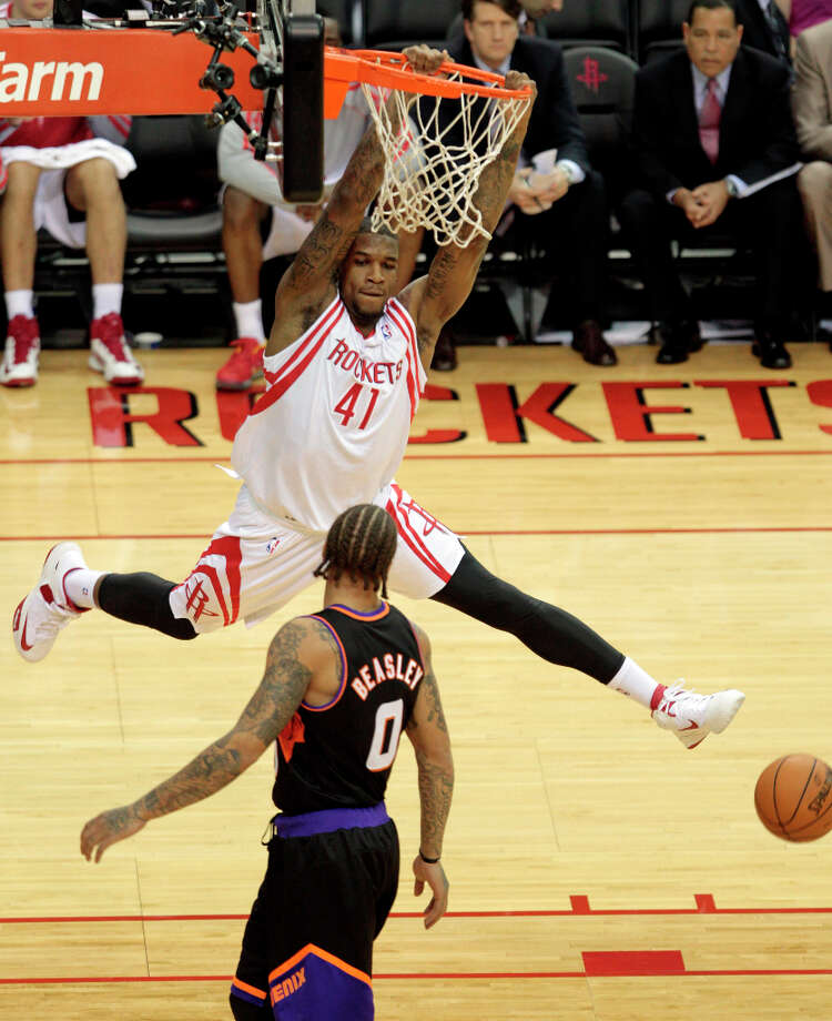 March 12: Rockets 111, Suns 81 The Rockets avenged a loss against the Suns three days earlier by putting up 111 points, beating Phoenix by 30 and scoring 50 points in the paint. Record: 35-30. Photo: Billy Smith II, Chronicle / © 2013 Houston Chronicle