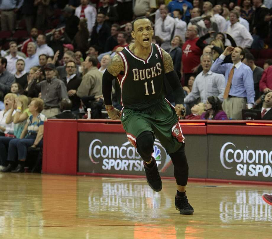 Feb. 27: Bucks 110, Rockets 107Monta Ellis had something to celebrate after hitting a game-winning buzzer-beating three to knock off the Rockets at Toyota Center. Record: 31-28. Photo: Billy Smith II, Houston Chronicle