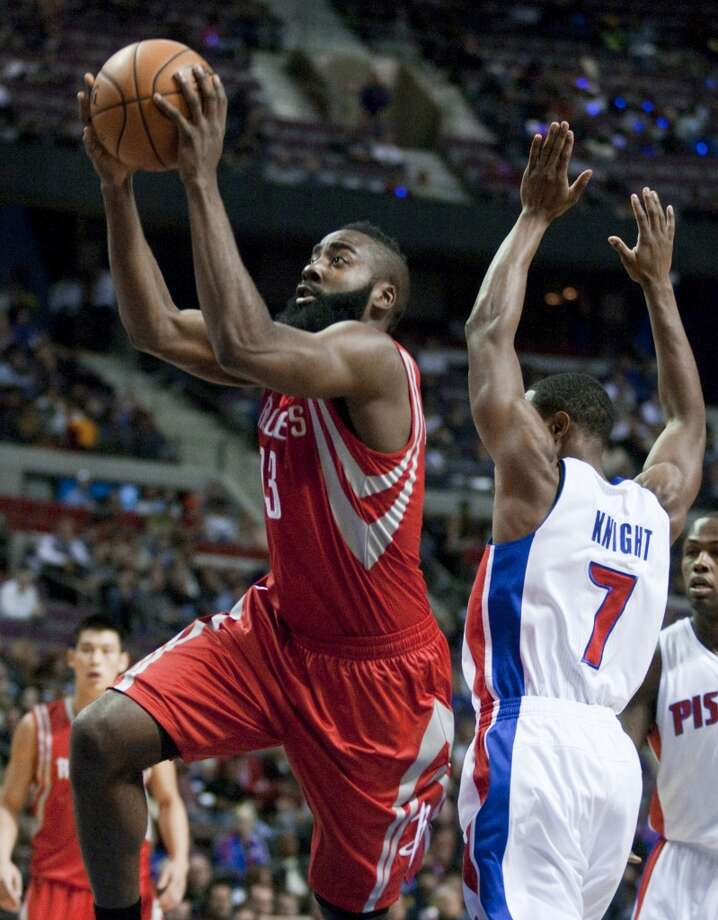 Oct. 31: Rockets 105, Pistons 96 James Harden had a coming out party in Detroit, leading all scorers with 37 points in his Rockets' debut. Record: 1-0. Photo: Duane Burleson, Associated Press