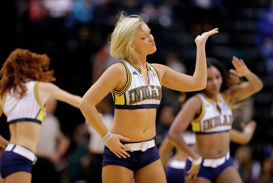5127 x 3432~~$~~An Indiana Pacers cheerleader during the first half of an NBA basketball game against the Chicago Bulls Sunday, March 3, 2013, in Indianapolis. Photo: Darron Cummings
