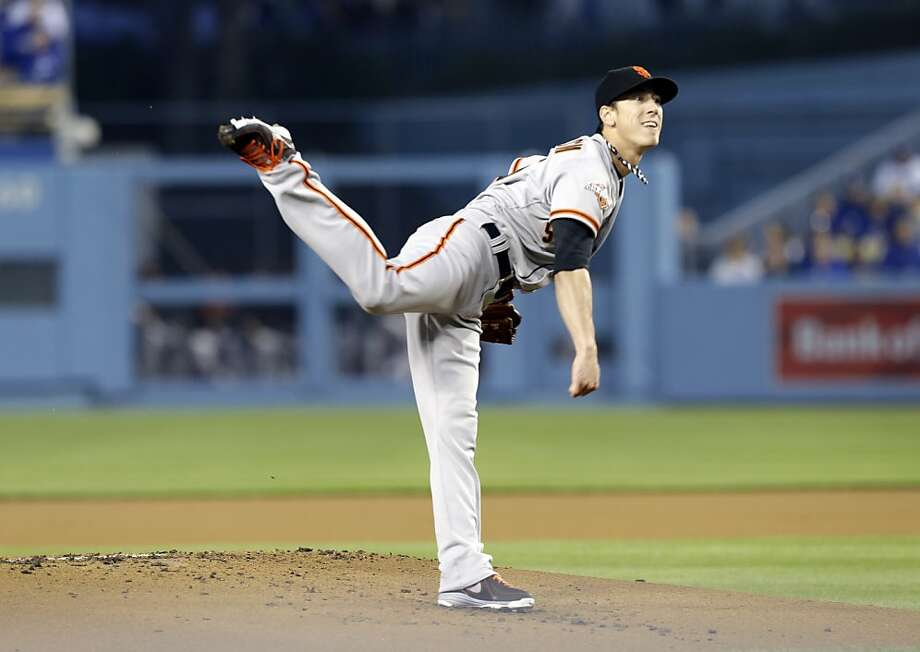 San Francisco Giants starter Tim Lincecum pitches to the Los Angeles Dodgers during the first  inning of a baseball game in Los Angeles, Wednesday, April 3, 2013. (AP Photo/Reed Saxon) Photo: Reed Saxon, Associated Press