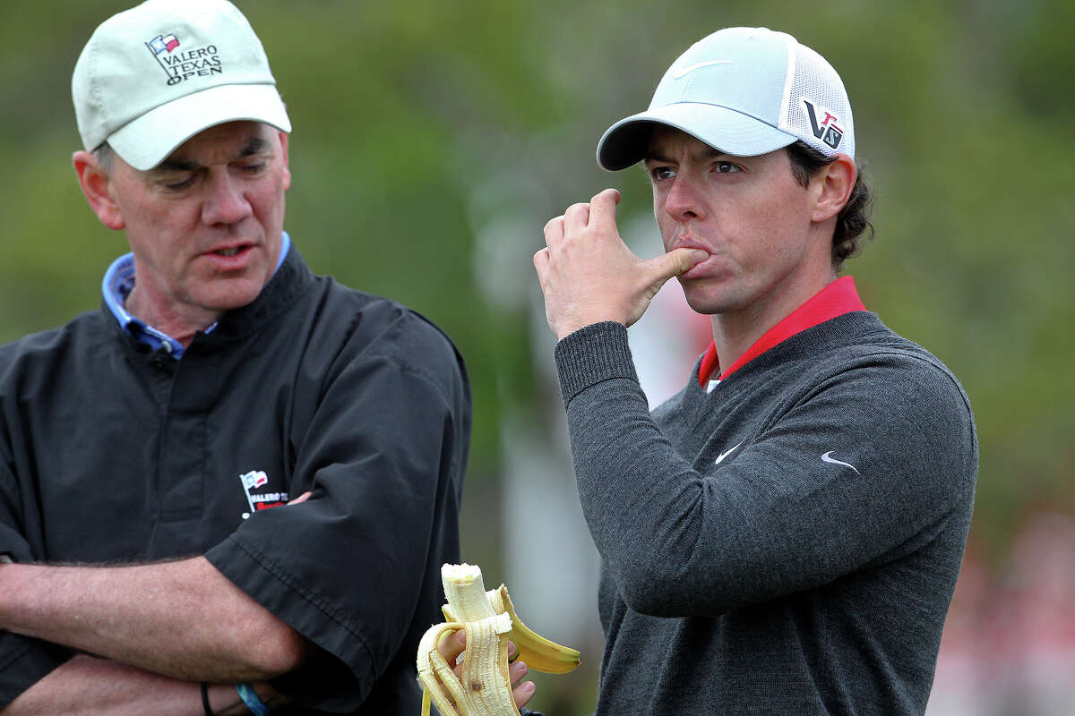 Rory McIlroy grabs some nutrition at the turn as he plays in the pro am tournament at the Valero Texas Open on April 3, 2013.