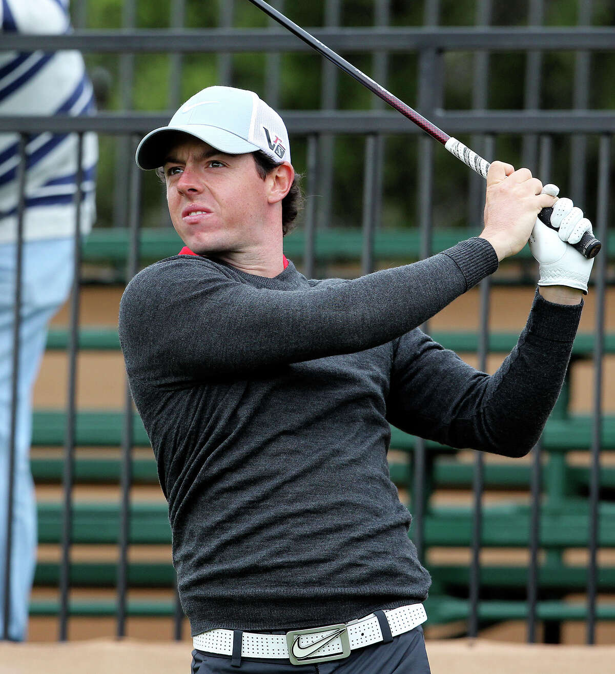 Rory McIlroy tees off on the tenth hole as he plays in the pro am tournament at the Valero Texas Open on April 3, 2013.