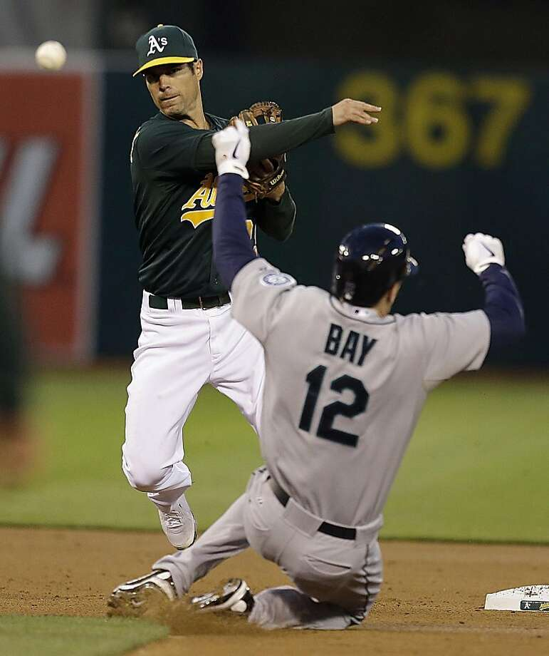 Oakland Athletics second baseman Scott Sizemore, top, throws over Seattle Mariners' Jason Bay to complete a double play in the second inning of a baseball game on Wednesday, April 3, 2013, in Oakland, Calif. Mariners' Robert Andino was out at first base. (AP Photo/Ben Margot) Photo: Ben Margot, Associated Press