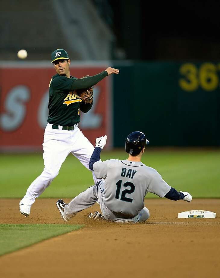 OAKLAND, CA - APRIL 03:  Scott Sizemore #29 of the Oakland Athletics gets his throw off to complete the double play against the slide of Jason Bay #12 of the Seattle Mariners in the second inning at O.co Coliseum on April 3, 2013 in Oakland, California.  (Photo by Thearon W. Henderson/Getty Images) Photo: Thearon W. Henderson, Getty Images