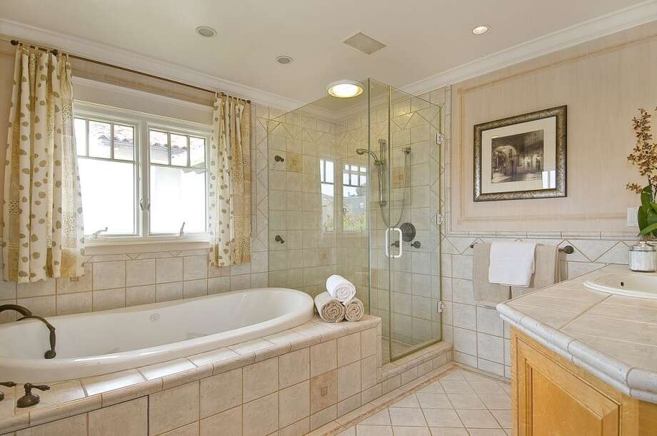 The master bathroom is one of three bathrooms in the home.